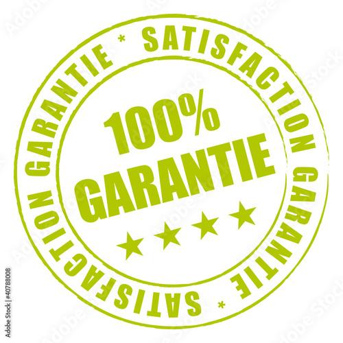 Satisfaction garantie à 100%. Tampon vert.