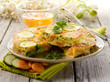 omelette with carrot zucchinis and parsley