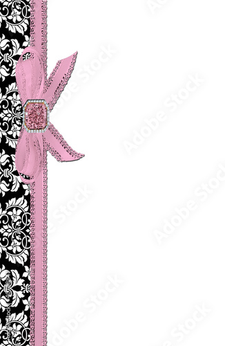 elegant damask stationery with bow