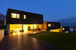 Three modern houses, outdoor by night