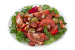 salad with meat and olives on the plate