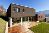 exterior beautiful modern house with garden, outdoor
