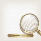 Watermark repeat background, and an old magnifying glass poster