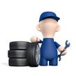 Freundlicher Mechaniker mit Autoreifen - Reifenwechsel