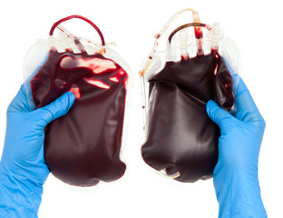 bag of blood in hand isolated