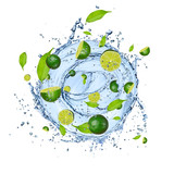 Limes pieces in water splash, isolated on white background