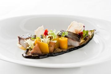 3 x aubergine | adlerfisch | orangengelee
