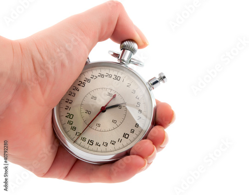 Stopwatch in hand isolated