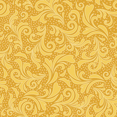 Floral ornament in gold yellow