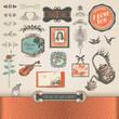 Vintage elements and labels