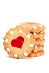 Festive heart cookies isolated on white background