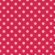 Pink dots, red background retro seamless vector pattern