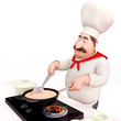 chef is cooking with kadhai