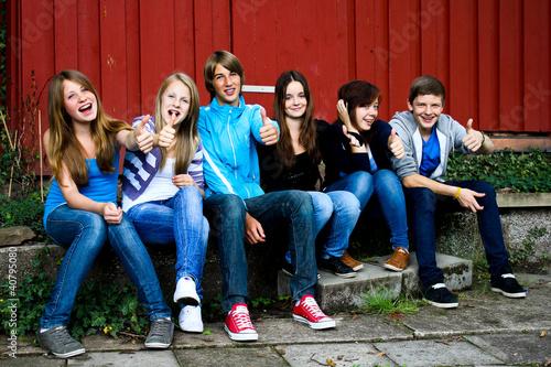 Leinwanddruck Bild Gruppe Teenager