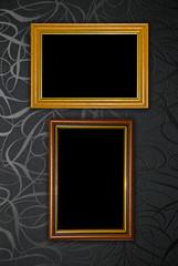 Gold frame on black vintage wallpaper background