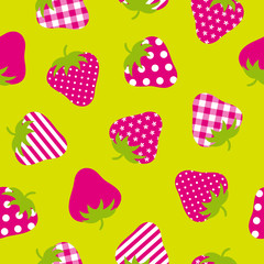 Seamless Pattern Pink Strawberries Green Background
