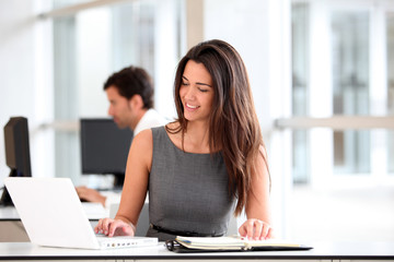 Attractive businesswoman working on laptop computer