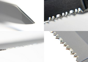 Sharp blade knife serrated close up collages