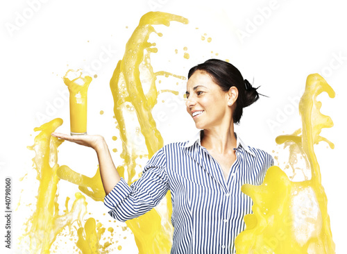 woman with orange splash