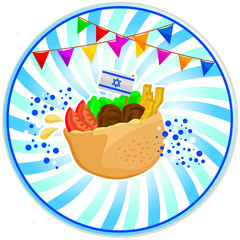 falafel (Israeli food) with the Israeli flag