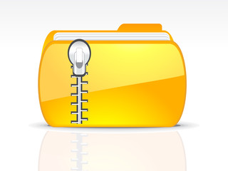 abstract glossy floder icon with lock