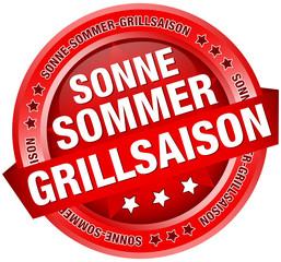 """Button Banner """"Sonne-Sommer-Grillsaison"""" rot"""