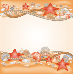 Sand and seashells border. vector illustration