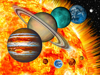 Solar System: the comparative size of the planets and Sun.