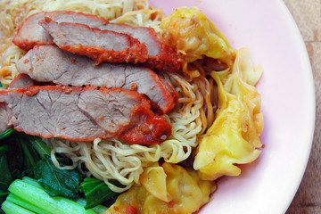 Egg chinese dry noodles with roast red pork