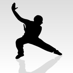 fighter pose two silhouette
