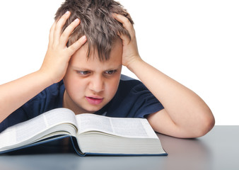 stressed boy with book