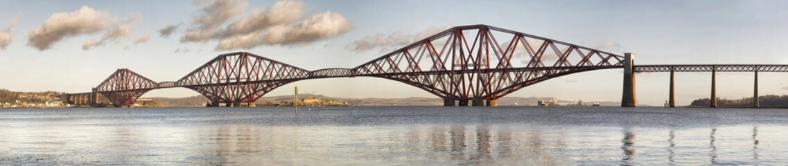 Panoramic view of Forth Rail Bridge, Edinburgh, Scotland