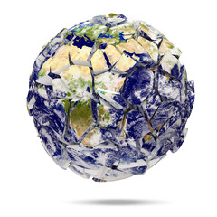 Broken Earth Planet on white background