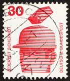 Postage stamp Germany 1972 Safety Helmets Prevent Injury, Accide poster