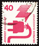Postage stamp Germany 1972 Defective Plug, Accident Prevention poster