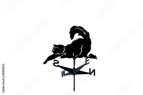 Weathervane in the form of a cat and mouse.