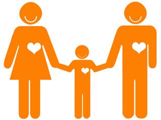 Pais de mãos dadas ao filho - família feliz