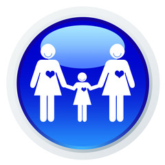 Casal feminino de mão dada a uma criança - ícone azul