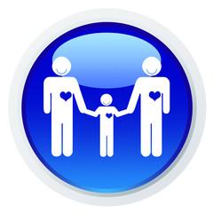 Casal masculino de mão dada a uma criança - ícone azul