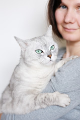 Middle age woman holding beautiful grey cat