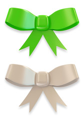 Set of Green and White Bow on white background