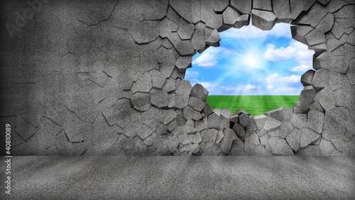Grungy Broken Concrete Wall with beautiful landscape behind
