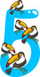 number five and 5 toucans