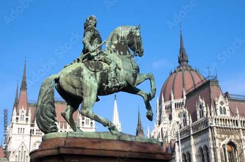 Budapest, Equestrian Statue And Hungarian Parliament