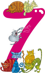 number seven and 7 cats