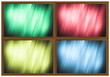 four differently colored abstract background in wooden frame