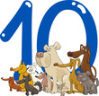 number ten and 10 dogs