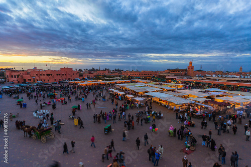 The Jemaa el-Fnaa Square at sunset, Marrakech, Morocco.