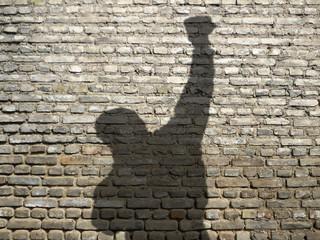 ombre d'homme poing levé