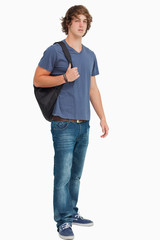 Male student with a backpack